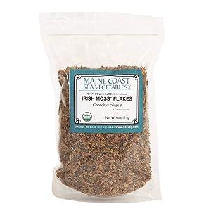 Irish Moss Flakes | 1 Pound | Organic Seaweed Flakes | Maine Coast Sea Vegetables