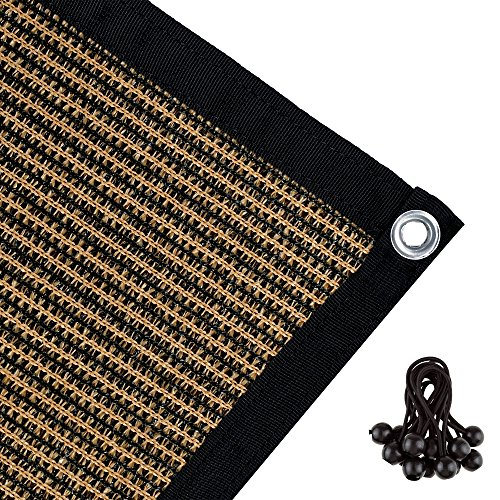 Shatex 90% Shade Fabric Sun Shade Cloth with Grommets for Pergola Cover Canopy 6' x12', coffee (Pergola Porch Cover)