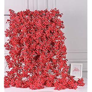 AlphaAcc Artificial Silk Cherry Blossom Flower Vine Hanging Garland Home Wedding Party Decor, Pack of 4 31