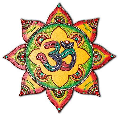 Om Symbol Living Room Wall Decor - Boho Decoration Wooden Wall Painting - 100% Handcrafted in India - Hindu Om Sign