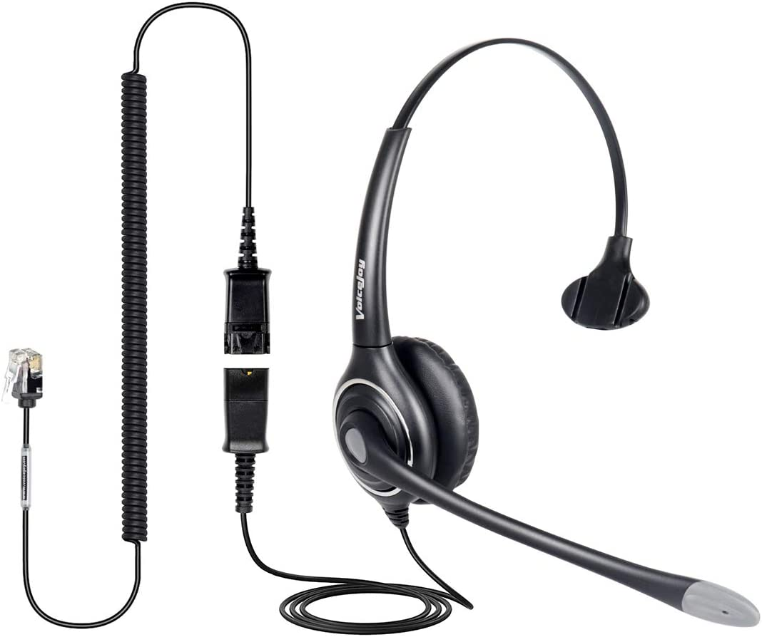 Single Ear Noise Canceling Headset for Call Center/Office with QD Cable for All Cisco 6000, 7800 and 8000 Series Phones and Also Models 7940 7941 7942 7945 7960 7961 7962 7965 7970 8841