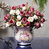 Situmi Artificial Fake Flowers European Style Beam Simulation Dried Flower Home Parlor Potted Set, Purple Rose