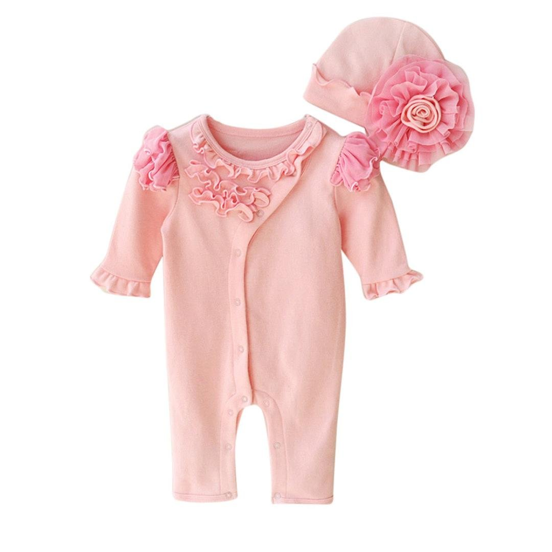 JUNNEY/_Girls Cap Hat+Romper Bodysuit Set Outfit