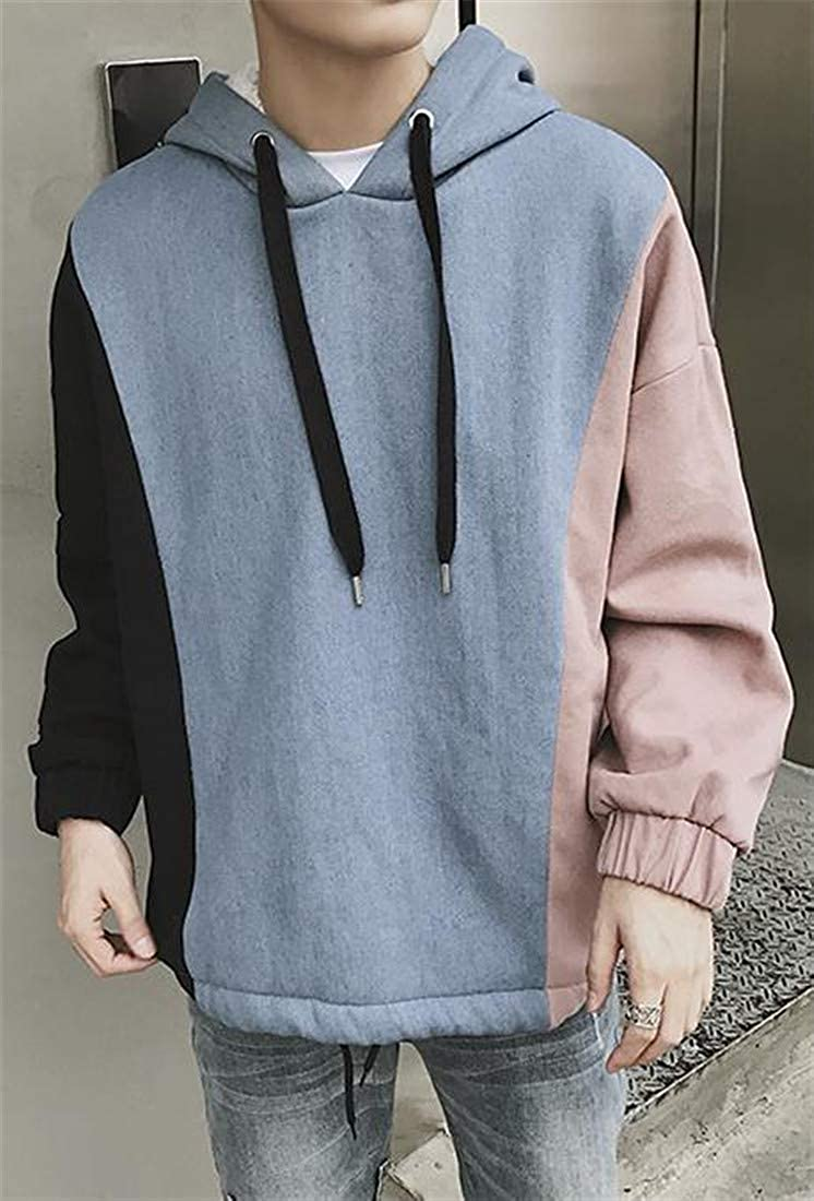 Lutratocro Mens Plus Size Contrast Color Drawstring Hooded Fleece Sweatshirt Pullover