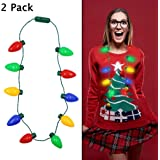 Twinkle Star Christmas Lights Bulb Necklace, Novelty Gifts for Women Kids, Ugly Xmas Sweater Accessories Holiday Party…