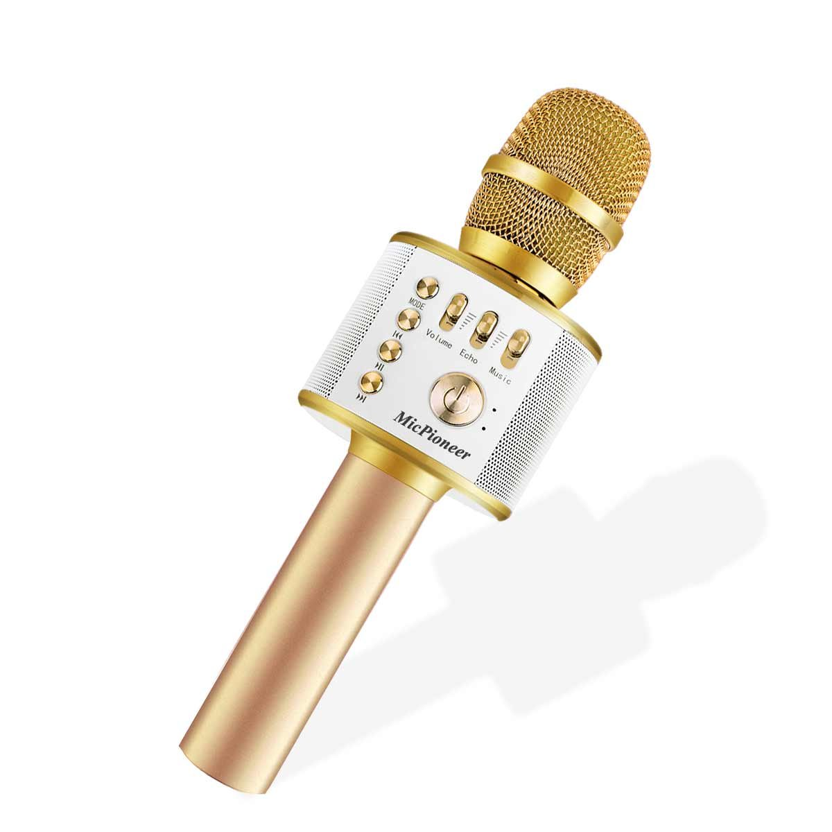 Bluetooth Karaoke Microphones, Micpioneer 3 in 1 Multi-function Wireless Microphone Speaker for iPhone, Android, Portable Mic for KTV, Home, Party Singing (Light Gold)