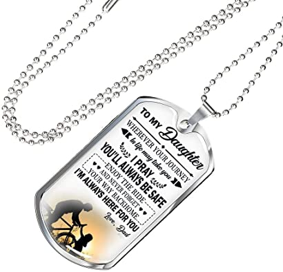 Father and Child Pendant Necklace Gift on Birthday Christmas New Year Daughter I Pray You Will Always Be Safe Quotes Dog Tag Customized