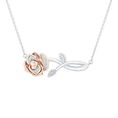 cfd31f0f3a3d Amazon.com  Enchanted Disney Belle s Rose Diamond Necklace 1 20ctw  Jewelry