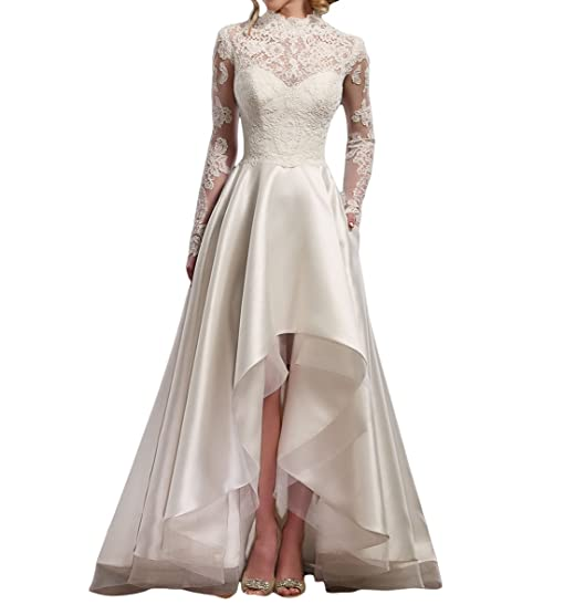 Mr.ace Homme Vintage vestidos de novia High low Long Sleeve Lace Bridal Wedding Dresses