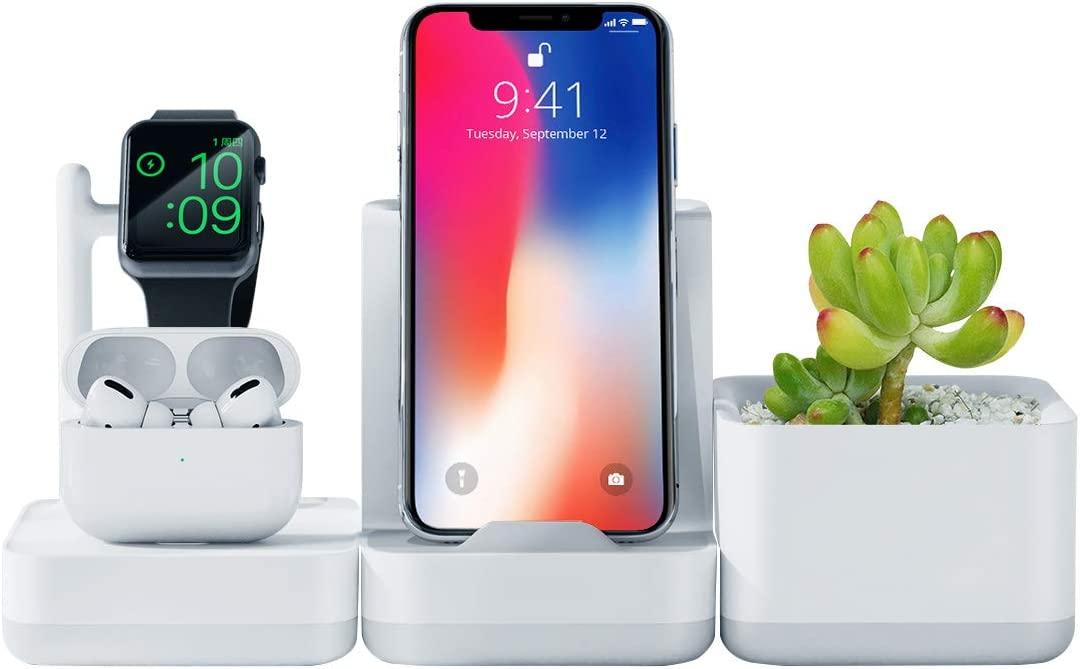 Hagibis Charging Station 3 in 1Charging Stand Dock for Apple Watch Airpods iPhone Universal Desk Stand Compatible for AirPods 1/2 Apple Watch Series 4/3/2/1 and iPhone 11/Xs/X Max/XR/X/8/7/6 Plus