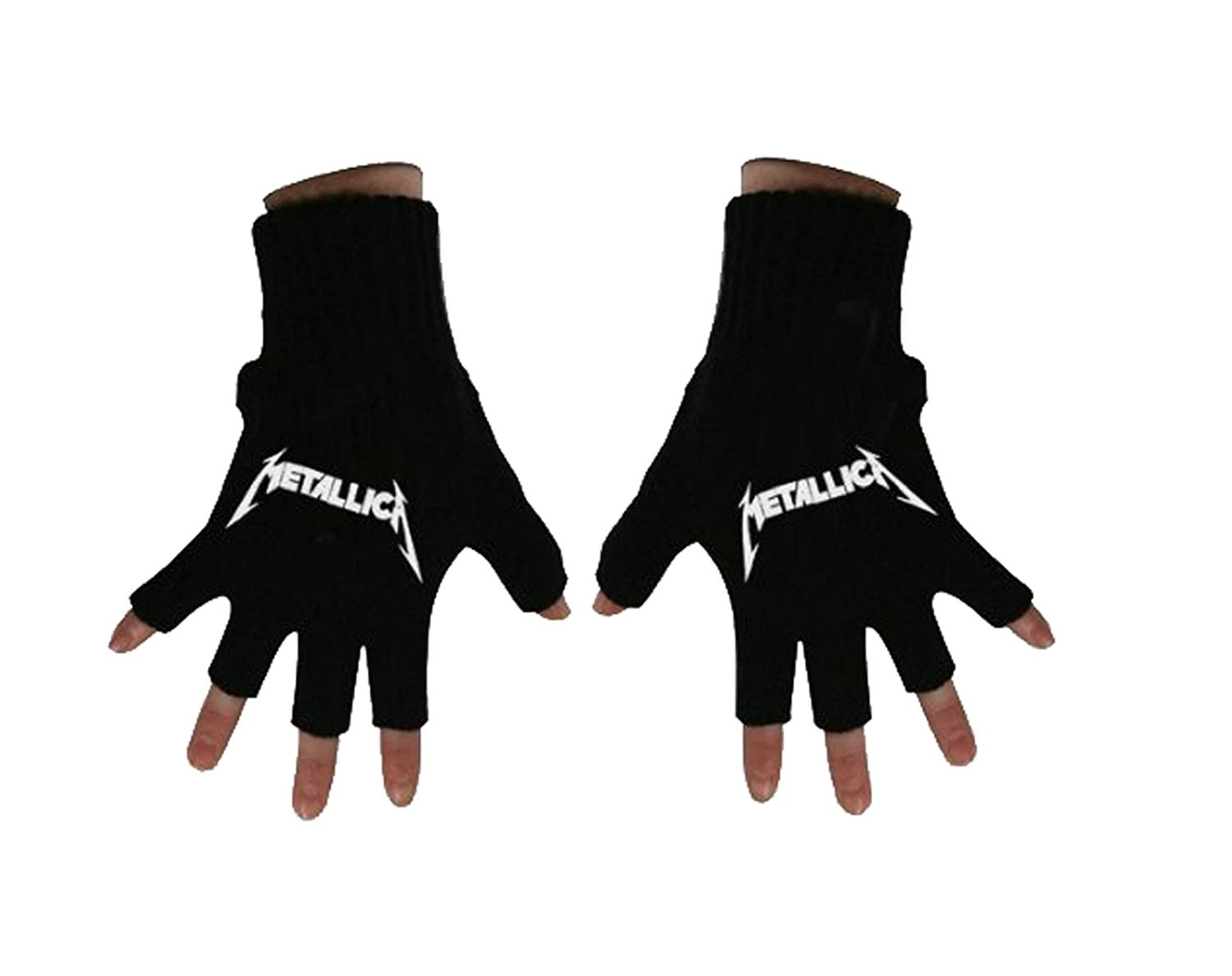 Metallica Gloves Classic Spiked Band Logo New Official Fingerless Black