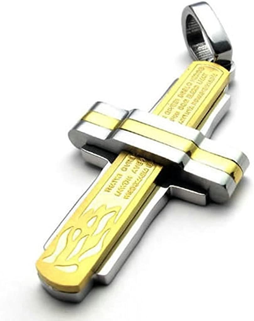 Bishilin Stainless Steel Fashion Men Women Necklace Pendant Prayer Cross Gold Silver 22Inch