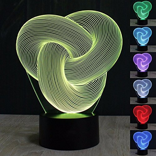 3D Glow Art Twist Knot Abstract Night Light 7 Color Change LED Table Desk Lamp Acrylic Flat ABS Base USB Charger Home Decoration Toy Brithday Xmas Kid Children Gift