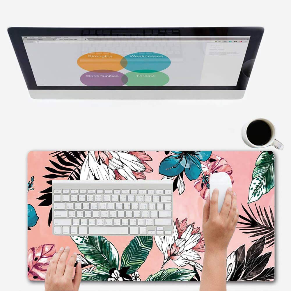 ZYCCW Large Gaming Mouse Pad, Oversized Extended Mat Desk Pad Keyboard Pad (31.5''x11.8''x0.15'') Thick Non-Slip Rubber Stitched Edges(Palm Leaves Floral) by ZYCCW