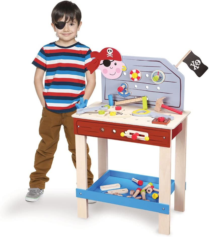 Imagination Generation Wooden Wonders Ultimate Pirate Work Bench with 6 Toy Tools and Fasteners (43 pcs)