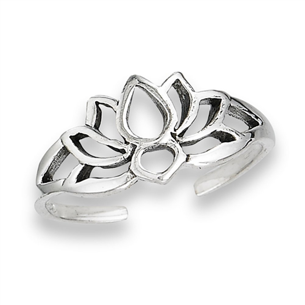 Filigree Flower Lotus Silhouette Nature .925 Sterling Silver Peace Bohemian Toe Ring Band