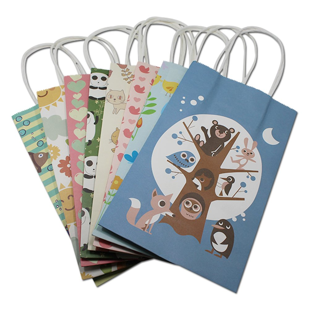 "130 Pieces 8.3""x5.1''x3.1''(21138cm) Tree and Animals Pattern Cute Series Handbag Fashion Design kraft Paper Shopping Bags"