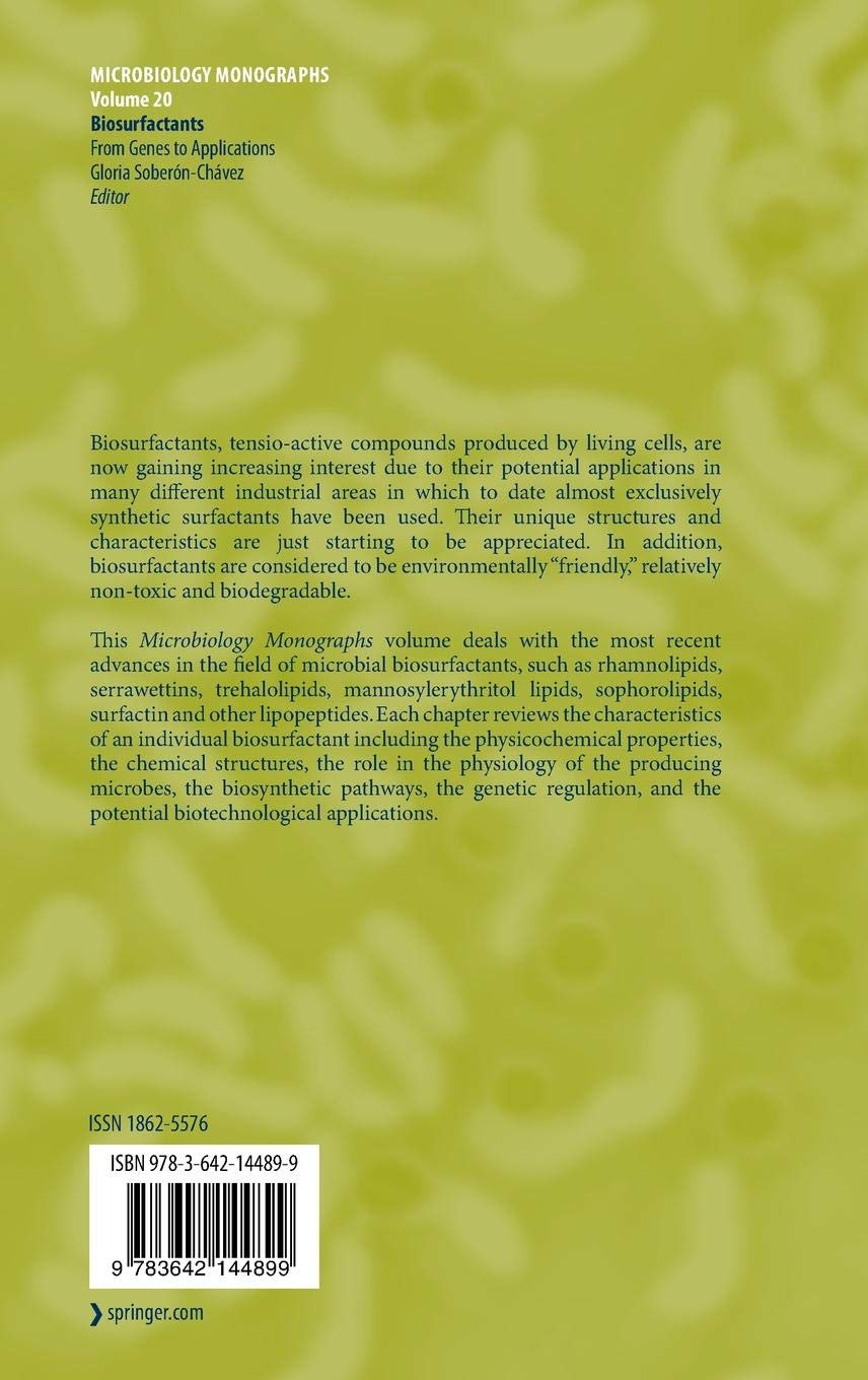 Biosurfactants: From Genes to Applications (Microbiology