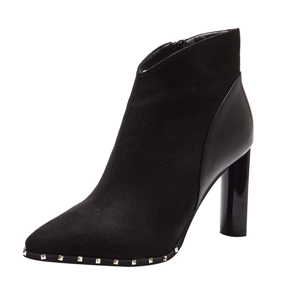 HBDLH Damenschuhe Slim - Stiefel Kurze Stiefel Absatz 9 cm Dicke Schuhe Sagte Martin Stiefel Und Stiefeletten