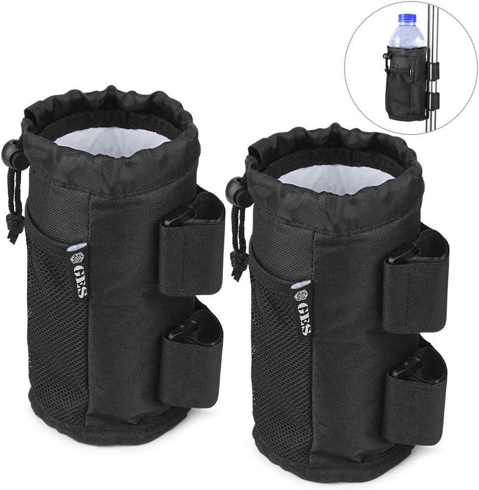 GES UTV - Portatazas de 2 unidades con bolsillo de malla y cierre de cable, accesorios para ATV, cochecito, silla de ruedas, scooter, barco y carrito de golf