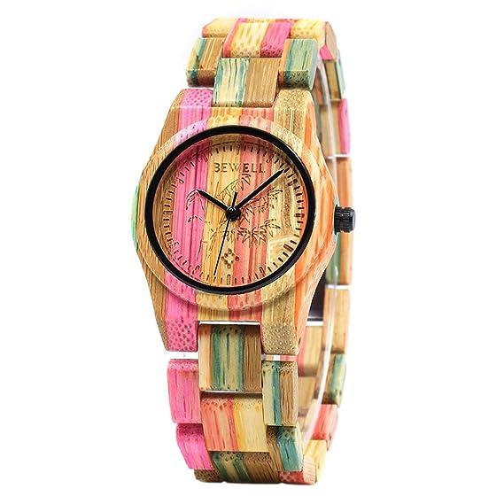 BEWELL Relojes Madera Mujer Analógico Cuarzo Japonés con Correa de Bambu Redondo Casual Relojes de Pulsera 2: Amazon.es: Relojes