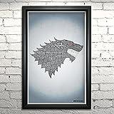 """Game of Thrones Stark word art print -11x17"""" Framed"""