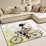 ALAZA Romantic Girl on Bicycle Butterfly Flower Area Rug Rugs for Living Room Bedroom 5'3 x 4′