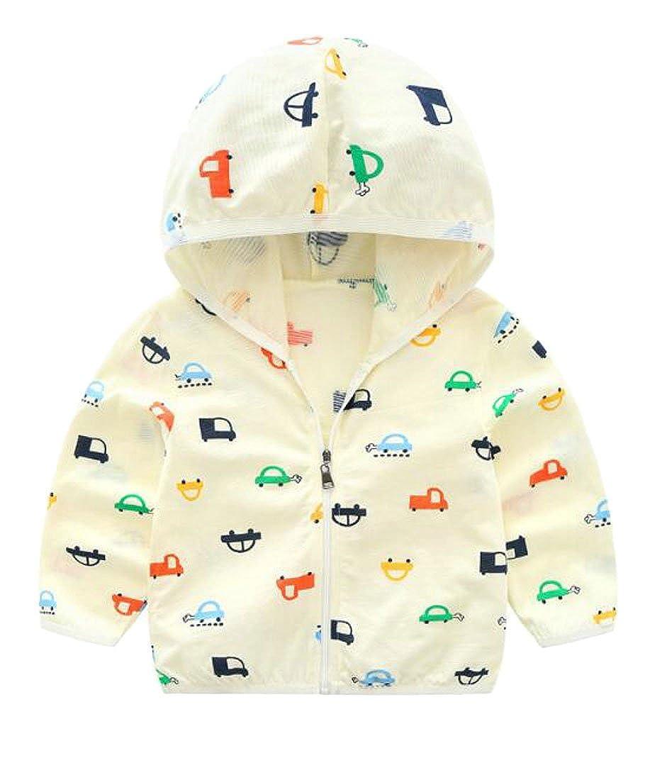 XTX Kids Boy Flower Zipper Hooded Sun Protect Thin Summer Jacket Coat Four 4T