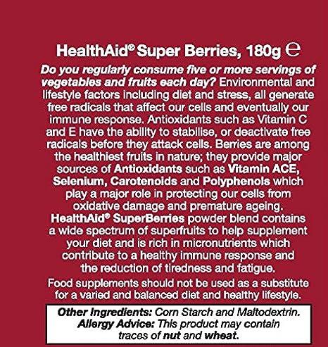 Amazon.com: HealthAid Super bayas polvo Multivitaminas, 180 ...