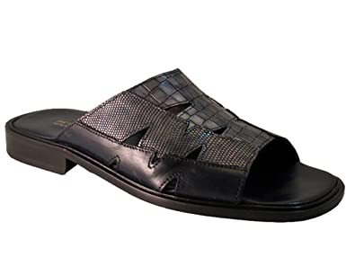 55ec6b15e1e Amazon.com | Davinci 3847 Men's Italian Leather Slide Sandal Grey ...