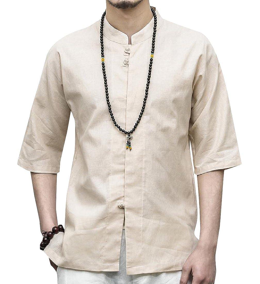 YUNY Men Tang Suit Plus Size Half Sleeve Linen Blend Outdoor Shirt Beige L
