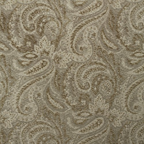Morgan Fabrics Alonso Taupe Paisley Printed Microfiber Velvet Upholstery By the Yard