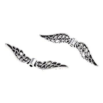 Engelsflugel Metallperlen Flugel 32mm Perlen Metall Spacer Silber