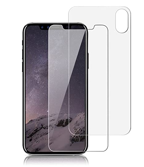 new concept f4e77 c064f iPhone X Front Back Screen Protector, Singularity Products iPhone X  Tempered Glass Screen Protector [3D Touch] Anti Glare Front + Rear Glass  Protector ...