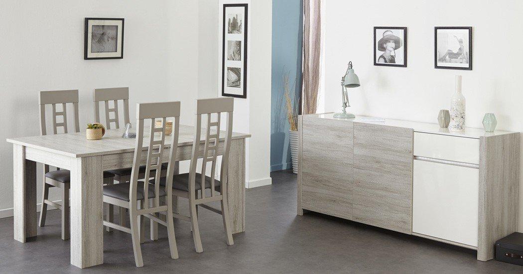 Esszimmer Luena 7 Portofino grau weiß Hochglanz Esstisch 4x Stuhl ...