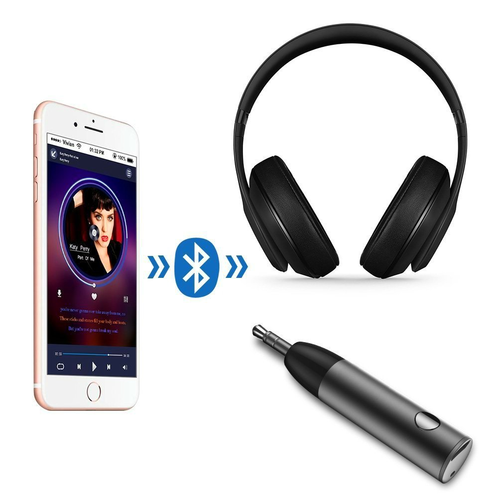 Bluetooth 4.1 Receiver Adapter, Mini Aluminum Wireless Receiver with Amplifier & AUX Audio Adapter and Bass Boost Option for Headphone, Car Audio, Speaker, Home Stereo, PC, Earbuds (Black) by D & K Exclusives (Image #4)