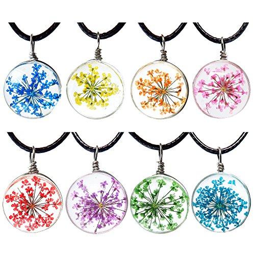Resin Flower Necklace (ALoveSoul Pressed Dried Flower Necklace - Round Transparent Resin Dry Flower Pendant, 8 Pcs)