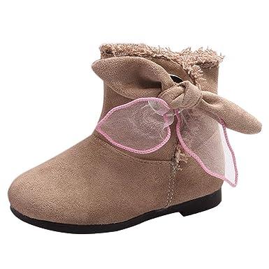 ❤ Botas de Nieve Niños Nudo de Proa, Niñas pequeñas para niños pequeños Arco Nieve cálida Botines de Invierno Zapatillas Zapatillas de Deporte Fluffy ...