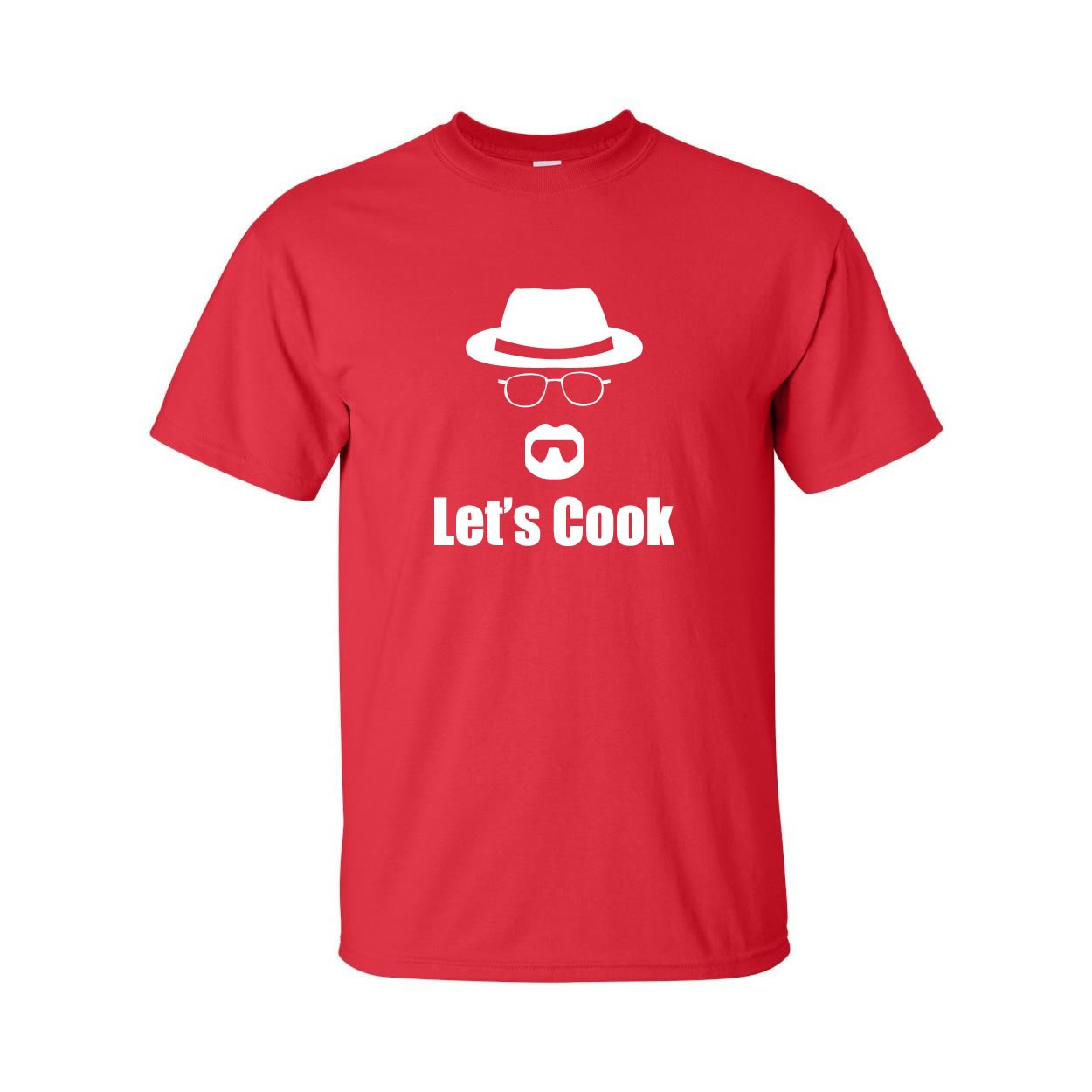zerogravitee Let's Cook Mustache/Hat/Glasses Adult Short Sleeve T-shirt in Red - XXXXX-Large
