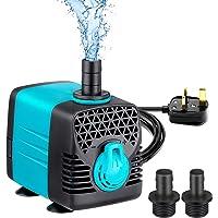 Welltop Bomba de agua sumergible, 1200L/H 263GPH bomba de fuente de 25 W para estanque, acuario, estanque, acuario, acuario hidropónico, con cable de alimentación de 1,5 m, 2 boquillas