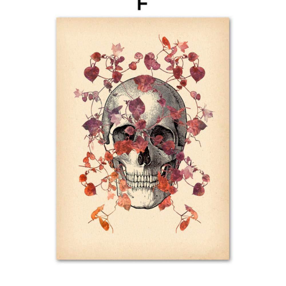 Terilizi/Cranio Polmone Vintage Spina Dorsale Anatomia Umana Medicina Parete Arte Tela Pittura Nordica Poster E Stampe Immagini A Parete per Soggiorno-40X50Cmx4 Senza Cornice