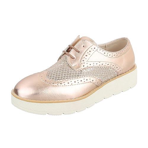 Ital-Design - Zapatos Planos con Cordones Mujer , color rosa, talla 38 EU: Amazon.es: Zapatos y complementos