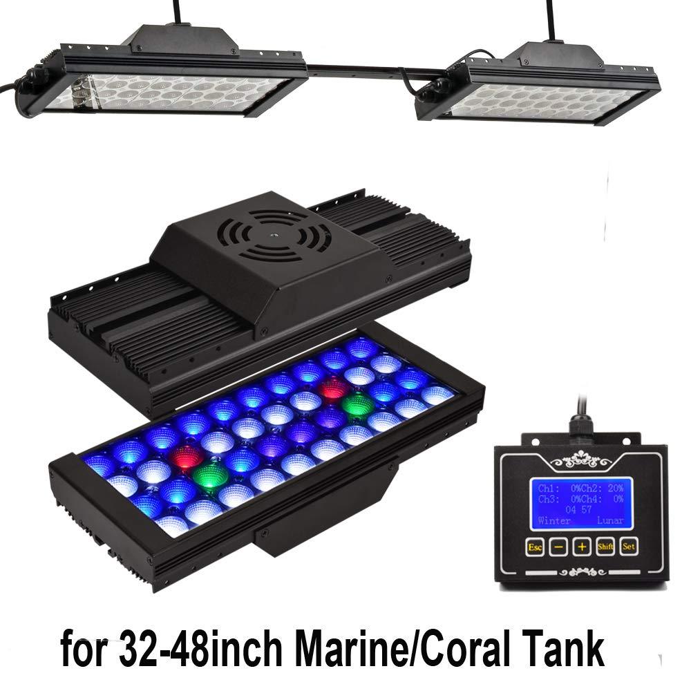 DSunY Smart Marine Light for 24 -48  Aquarium Tank, Coral Reef Saltwater Lamp Programmable Timer Sunrise Dimmable Led Moon Lighting