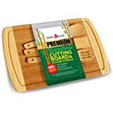 Bamboo Cutting Board & 3 Piece Utensil Set with Drip Groove for Meat, Vegetables and Food Prep