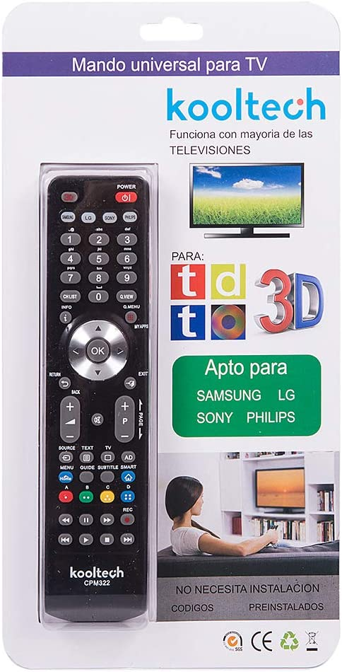 Kooltech 018468 Mando a Distancia, Universal, 4 In 1/322/25/100: Amazon.es: Electrónica