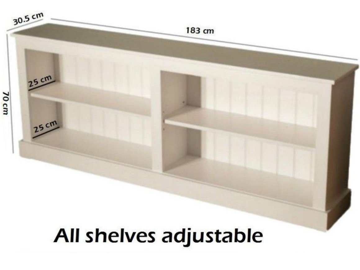 Heartland Pine 100 Solid Wood Low Bookcase White Painted