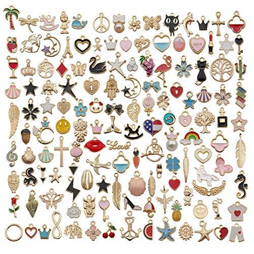 Sailanzi Assorted Gold Plated Enamel Animal Plant Fruit Moon Star Random Charms Pendants for DIY Necklace Bracelet Earrings Jewelry Making,140pcs
