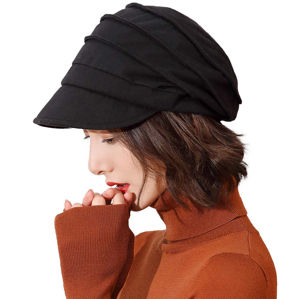 Ladies 100% Cotton Beret Visor Cloche Hat Baker Boy Cap Newsboy Cabbie Peaked Hat Warm Fleece Lined Casual Winter Hats for Women 57-59CM