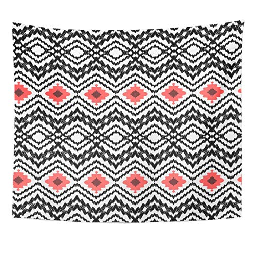 Tapestry Ikat Pattern Diamond Zigzag Geometric Navajo Home Decor Wall Hanging for Living Room Bedroom Dorm 50x60 inches