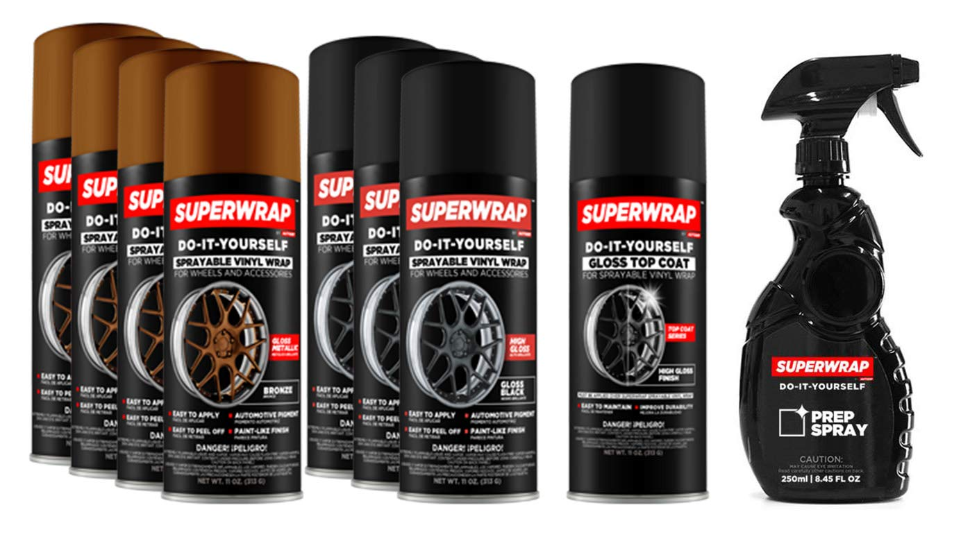 Superwrap Sprayable Vinyl Wrap - Wheels Kits 20' to 22' - Gloss Black DVG Brands